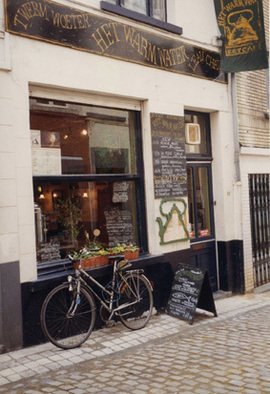 Ruth Zachary: 'Stopping For Soup', 1996 Color Photograph, Cityscape.  Charming storefront of cafe, leaning bicycle.   Brussels, Belgium. Welcoming you to warm up and have some lunch. Romantic, very European. 11 X 14