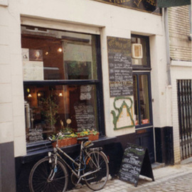 Ruth Zachary: 'Stopping For Soup', 1996 Color Photograph, Cityscape. Artist Description:  Charming storefront of cafe, leaning bicycle.   Brussels, Belgium. Welcoming you to warm up and have some lunch. Romantic, very European. 11 X 14