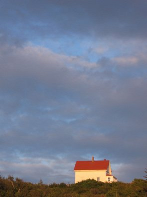 Ruth Zachary: 'Sylvias Sky', 2006 Color Photograph, Sky.  Big blue sky mottled by white and gray clouds over the spot of red roof of the old lighthouse keepers house. Surreal, atmospheric.  Remote Monhegan Island 10 miles off the coast of Maine, USA.  11 x 14