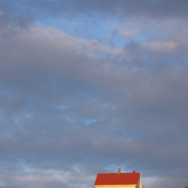 Ruth Zachary: 'Sylvias Sky', 2006 Color Photograph, Sky. Artist Description:  Big blue sky mottled by white and gray clouds over the spot of red roof of the old lighthouse keepers house. Surreal, atmospheric.  Remote Monhegan Island 10 miles off the coast of Maine, USA.  11 x 14