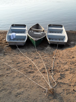 Ruth Zachary  'Three Boats At Evening', created in 2012, Original Photography Black and White.
