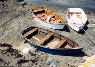 Ruth Zachary: 'Trio', 1998 Color Photograph, Boating.  Three wooden row boats, old rock wall. Monhegan Island, Maine. 11 x 14
