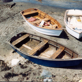 Ruth Zachary: 'Trio', 1998 Color Photograph, Boating. Artist Description:  Three wooden row boats, old rock wall. Monhegan Island, Maine. 11 x 14