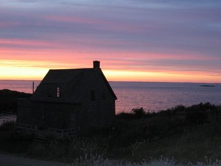 Ruth Zachary: 'Uncle Henrys Sunset Sky', 2012 Color Photograph, Sky. Sunset sky in lilacs, lavenders, blues, pinks and yellows. Reflected pink in the indigo sea and peeking through the cottage window. Cottage and landscape in shadow. Monhegan Island, Maine.  Larger size available, 11 x 14, $98. ...