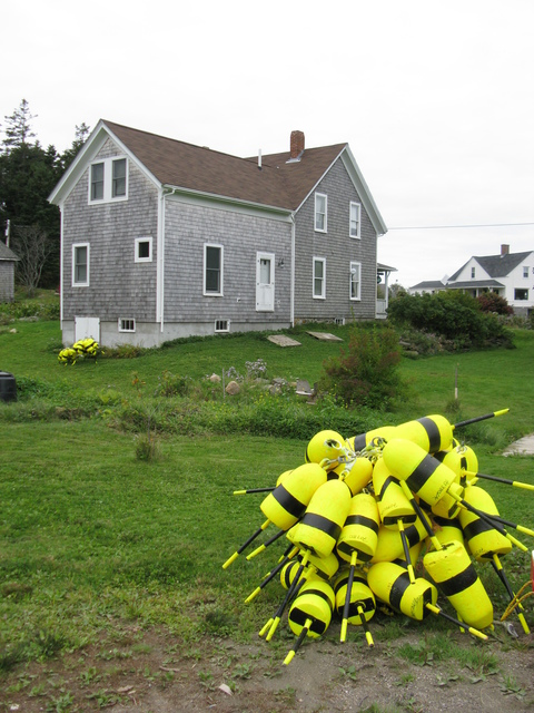 Ruth Zachary  'Yellow Lobster Buoys', created in 2012, Original Photography Black and White.