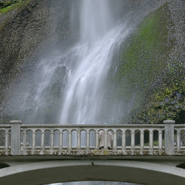 Ralph Andrea: 'Multnomah Falls Panoramic Detail 1', 2005 Color Photograph, Landscape. Artist Description: Columbia River Gorge, Oregon, USA.Plummeting 620 feet, the Multnomah Falls is the crown jewel of the Columbia River Gorge. This image is a seamless hand composited panoramic incorporating eight separate high- resolution images. The eight horizontal ( landscape) images were shot with a Nikon D2x professional digital camera ...