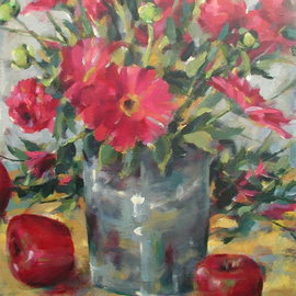 Richard Wieth: 'fresh crimson oil', 2017 Oil Painting, Still Life. Artist Description: Still life oil painting of vase of fresh cut flowers surrounded by apples.  Original painting by Richard Wieth. ...