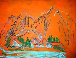 Ryan Ilinca: 'village in the mountains', 2015 Acrylic Painting, Abstract Landscape. Artist Description: Original artwork using a special technique. Acrylics and spatula in this original style called Octavianism. ...