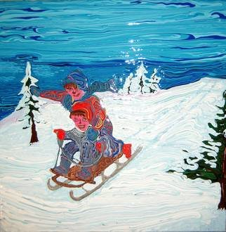 Ryan Ilinca: 'winter fun', 2014 Acrylic Painting, Children. Artist Description: Original artwork using a special technique. Acrylics and spatula in this original style called Octavianism. ...