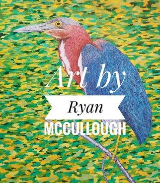 Mccullough Ryan: 'green heron', 2020 Marker Drawing, Other. stipple art prints...