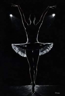 Richard Young: 'secret rehearsal', 2016 Oil Painting, . Artist Description: Fine art ballerina silhouette oil painting on canvas created entirely using a knife...