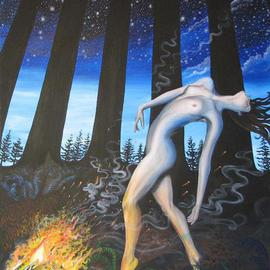 Sabrina Michaels: 'Eternal Dance', 2006 Oil Painting, Nudes. Artist Description:  This painting is inspired by the freeing primal connection of humanity with nature. The fire is symbolic of earth, space and spirituality. ...