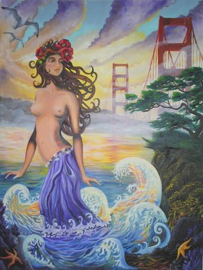 Sabrina Michaels: 'San Francisco Moment', 2007 Oil Painting, Psychedelic.  This painting is a blissful merging of styles. Its composition consists of art nouveau, fantasy, psychedelic and asian art styles. ...
