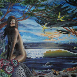 Sabrina Michaels: 'Sonoma Daydream', 2006 Oil Painting, Nudes. Artist Description:  This dreamy landscape was inspired by a day spent on the beautiful Sonoma Coast of Northern California. ...