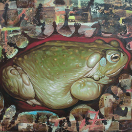 Ikram Sadikov: 'Calm', 2011 Oil Painting, Psychedelic. Artist Description:       Oil, canvas. / oil canvas sadikov ikram painting toad nhess art animal psychedelic     ...