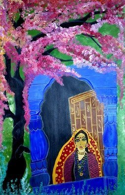 Deepti Tripathi: 'pahari beauty', 2018 Acrylic Painting, People. Artist Description: Painting depicts the pahari beauty of uttrakhand region. The colours relax the eyes nd soul ...