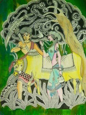 Deepti Tripathi: 'radha krishna', 2018 Acrylic Painting, Mythology. Artist Description: Radha, Krishna, love, soul, God, creator ...