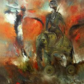 Sajal Patra Artwork THE KING, 2007 Oil Painting, Abstract Figurative