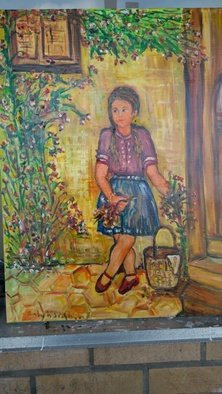 Salah Shahin: 'i am waiting dad', 2018 Oil Painting, Beauty. Artist Description: New oil painting for funny girl ...