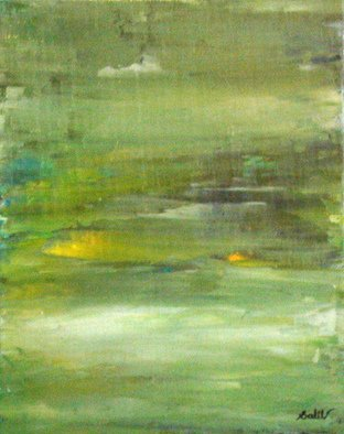Gopal Weling: 'monsoon', 2008 Oil Painting, Abstract Landscape.  This isabout '' monsoon'' . the season of growth & prosarity. Nature turns in green with misty, cloudy climate. I am trying to show that  threw yellows& blues. ...