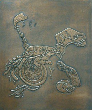 Sali Shkupolli: 'Motoric Creature', 2000 Bronze Sculpture, undecided. Artist Description:   Relief on Copper    ...