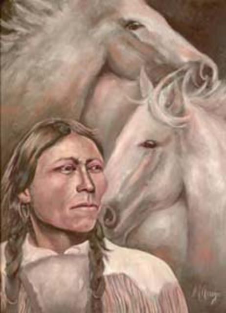 Sally Arroyo  '1910 Native American Indian With His Horse Spirit Guides', created in 2015, Original Painting Oil.