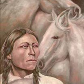 Sally Arroyo: '1910 Native American Indian with his Horse Spirit Guides', 2015 Oil Painting, Portrait. Artist Description:  Unknown Native American Indian in tribal dress and his wild horses, reflecting on past and future of his race. Signed by artist Size 24x18 Oil on canvas Framed ( barnyard gray in color) colors white with pastels  ...