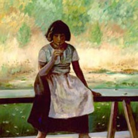 Sally Arroyo: 'Early American Girl', 2015 Oil Painting, Portrait. Artist Description:  SOLITARY  PEASANT GIRL, SITTING ON A BENCH OUTDOOR MEADOW IN BACKGROUND. THOUGHTFUL , PENSIVE, REMINISCING. Size 16