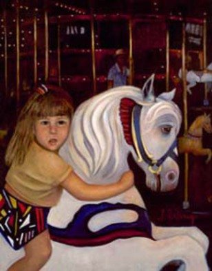 Sally Arroyo: 'MERRY GO ROUND GIRL ', 2015 Oil Painting, Children.  FIRST RIDE BY YOUNG GIRL ON THE MERRY GO ROUND, FATHER LOOKING ON IN BACKGROUND. PENETRATING EYES ON BOTH GIRL AND HORSE, ANXIETY SHOWS ON FACE. Size 28
