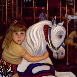 Sally Arroyo Artwork MERRY GO ROUND GIRL , 2015 Oil Painting, Children