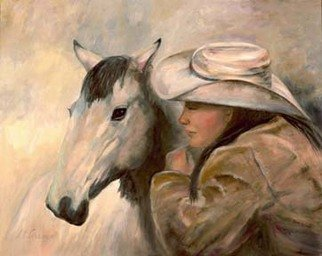 Sally Arroyo: 'PONY GIRL WHISPERING SECRETS ', 2015 Oil Painting, Western. Artist Description:  SHE WHISPERS ADVICE FOR UPCOMING REVIEW OR COMPETITION CALMING BEFORE PERFORMING OR JUST BONDING, TRUST AND ENCOURAGEMENT BETWEEN THE TWO Size 30