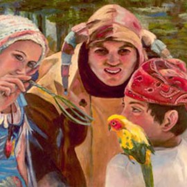 Sally Arroyo: 'RENAISSANCE TRIO WITH BABY PARROT ', 2015 Oil Painting, People. Artist Description:  COLORFUL COSTUMED CHARACTERS  ENGAGED  IN YOUNG BOY WITH PARROT ON SHOULDER, YOUNG WOMAN TEASING PARROT WITH TWIG BASED ON RENAISSANCE FAIR IN LAKE TAHOE FOREST, COURT JESTER ONLOOKING THE ENCOUNTER.  Size 24