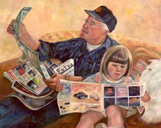 Sally Arroyo: 'SUNDAY MORNING ', 2015 Oil Painting, Family. Artist Description:  GRANDPA AND GRANDDAUGHTER READING THE SUNDAY PAPER BONDING TOGETHER- ENGROSSED IN EACH SUBJECT MATTER 'DO NOT DISTURB'Size 36