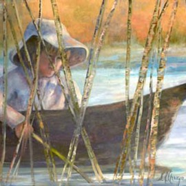 Sally Arroyo: 'TROLLING', 2015 Oil Painting, Portrait. Artist Description:  BOY IN BOAT, TROLLING IN TALL REEDS CONCENTRATING ON HIS CATCH. Size 24x18   Oil on canvas  Signed by artist COLORS  BACKGROUND SUNSET COLORS, BLUES, SOFT WHITES and GREENS ...