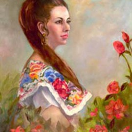 Sally Arroyo: 'VIRGINIA', 2015 Oil Painting, Portrait. Artist Description:  A FORMAL PORTRAIT OF A BEAUTIFUL WOMAN POSING IN FLORAL DRESS AS BEAUTIFUL AS THE ROSES THAT SURROUND HER. SHE DOES NOT MOVESize 30