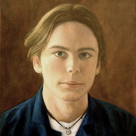 Yoli Salmona: 'Christopher', 1999 Oil Painting, Portrait. Artist Description:   A portrait of my eldest stepson Christopher Sharp at 18.Although he was in those days focusing on music, his life path has, at a fast pace, taken him to film and his present role as a development manager for Screen Australia....
