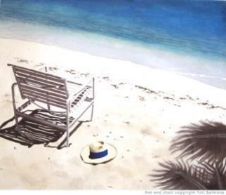 Yoli Salmona: 'Hat and chair ', 2012 Giclee, Beach. An image first borrowed by French publisher Flammarion, and the subject of a new edition.The image is available as a quality giclee reproduction on Archival Hahnemuhle paper 310gsm...