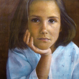 Yoli Salmona: 'Josephine', 1996 Oil Painting, Portrait. Artist Description:   Josephine is the little sister of' Alban' . They were my first commissioned portraits of children....