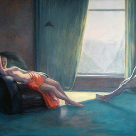 Yoli Salmona: 'Looking out', 1989 Oil Painting, Figurative.