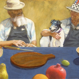 Yoli Salmona: 'Lunch among friends', 2007 Oil Painting, Portrait. Artist Description:  As I visited Cam Croft at his framing studio one lunchtime, his work partner Rod Denson wore an amazing hat under the midday sun. Both men had Hawaiian shirts under their work aprons, and I suggested that I paint their portrait.As they accepted the idea, and for ...