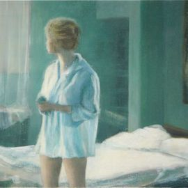 Yoli Salmona: 'Rendezvous avec B', 2003 Oil Painting, Figurative. Artist Description:  In a French bedroom oil on board ...