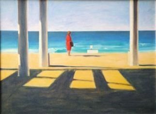 Yoli Salmona: 'Suzy at Maroubra Beach', 1992 Oil Painting, Beach.  A winter day at the beach, and a red dress ...