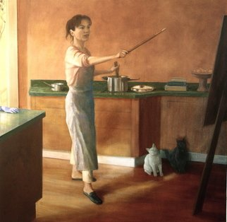 Yoli Salmona: ' All hands taken something is cooking', 2004 Oil Painting, Portrait.  A woman' s task. . . This is a self portrait of my daily life, inspired by a small sketch by an unknown Australian artist.My grey cat wouldn' t stay in place, each time I stepped away to photograph her, she followed me. . . So I painted my white cat...