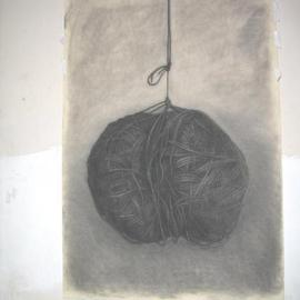 Salvatore Victor Artwork knit ball, 2005 Charcoal Drawing, Representational