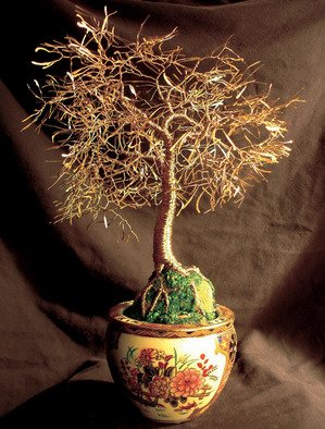 Sal Villano: 'Asian Gold Leaves, Wire Tree Sculpture ', 2007 Mixed Media Sculpture, Landscape.  Asian Gold Leaves - Wire Tree Sculpture 15
