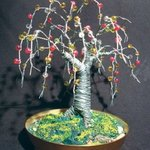 Beaded Oak  Wire Tree Sculpture , Sal Villano