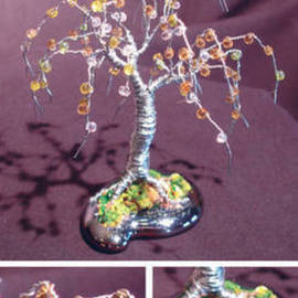 Beaded Willow Wire Tree culpture