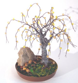 Sal Villano: 'Beaded in Brass Base  Wire Tree Sculpture', 2011 Mixed Media Sculpture, nature.  sculpture, art, wire, metal, nature, metalwork, steel, copper, beads, glass, jade, instruction books, bonsai, trees, art work, artists, mixed media, sal villano, create wire trees, twisted wire trees, how to create wire trees    ...