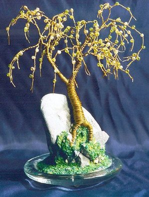 Sal Villano Artwork Beaded on Rock ,   Wire Tree Sculpture , 2007 Mixed Media Sculpture, Landscape