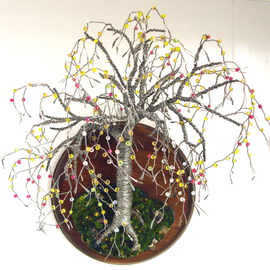 Beaded on Round Base  Wall Art Sculpture